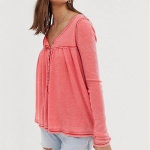 Free People We The Free Kai Henley Shirt Red